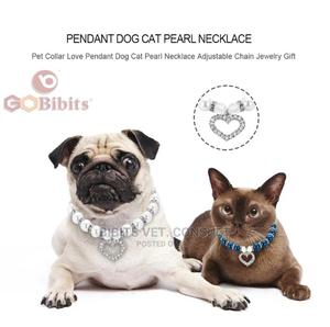 Dog Pearl Necklace With Rhinestone Identification Pendant   Pet's Accessories for sale in Lagos State, Abule Egba