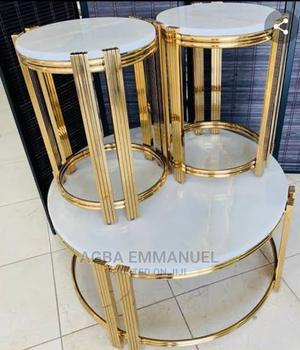Round Designers Marble Round Center Table With 2side Stools | Furniture for sale in Lagos State, Lekki