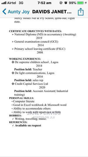 Davids Janet Damilola Office Cv   Office CVs for sale in Oyo State, Ibadan