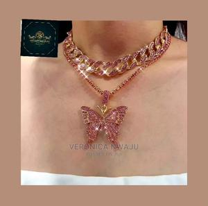 Cuban Punk Iced Out Butterfly Necklace   Jewelry for sale in Lagos State, Lekki