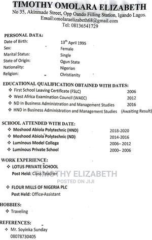 Teaching CV | Teaching CVs for sale in Lagos State, Ikotun/Igando