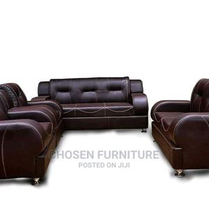 Beautiful Set of Brown Leather Sofa at Discounted Prices.   Furniture for sale in Lagos State, Ikeja