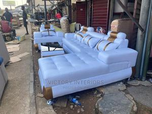 White L- Shaped Leather Sofa With a Single Center Table   Furniture for sale in Lagos State, Apapa