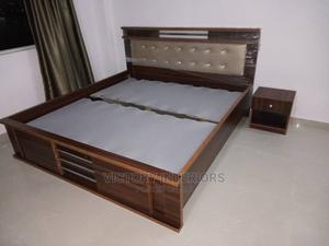 6 by 6 Wooden Bed Frame With Bed Side   Furniture for sale in Lagos State, Ikeja