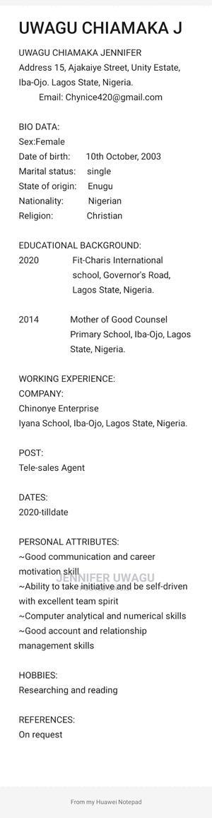 Sales Telemarketing CV   Sales & Telemarketing CVs for sale in Lagos State, Ojo