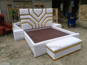 6by6 Padded Leather Bedframe   Furniture for sale in Lagos State, Ojo