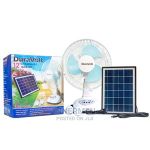 """Duravolt 12"""" Rechargeable Table Fan With Solar Panel/2 Bulbs 