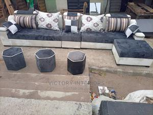 L- Shaped Fabric Sofa With Ottoman, Call Us Now   Furniture for sale in Lagos State, Ibeju