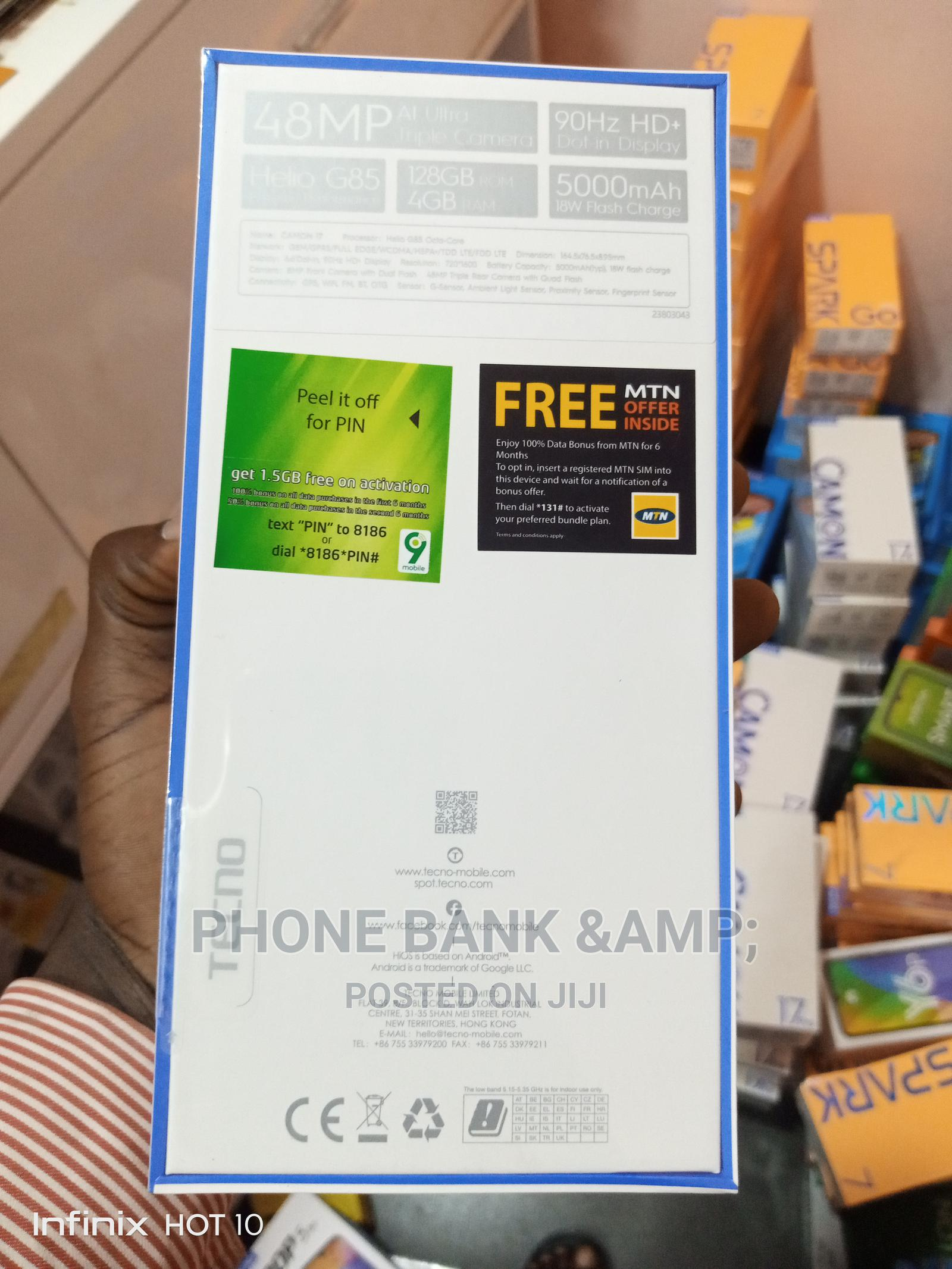 New Tecno Camon 17 128 GB Blue | Mobile Phones for sale in Agege, Lagos State, Nigeria