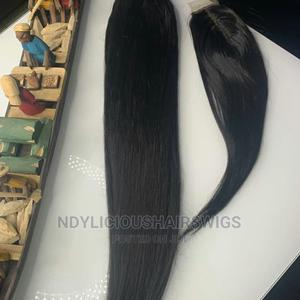 22inches Bone Straight Human Hair With Original Closure (1b) | Hair Beauty for sale in Lagos State, Ikeja