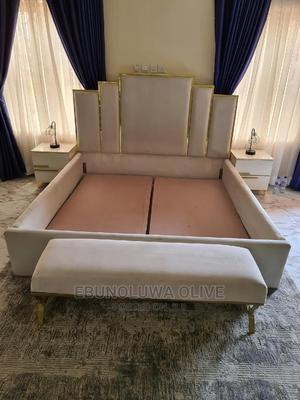 6 by 6 Offwhite and Gold Bedframe With Accessories. | Furniture for sale in Abuja (FCT) State, Kado