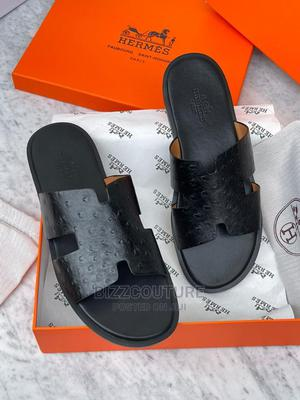 High Quality HERMES Black Leather Slippers for Men's | Shoes for sale in Abuja (FCT) State, Asokoro