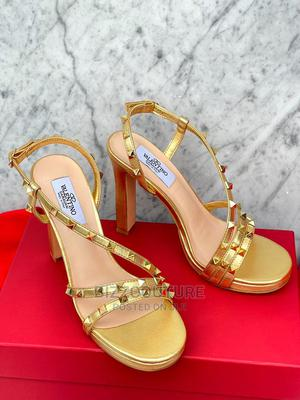 High Quality VALENTINO Gold Leather Heels for Women's | Shoes for sale in Abuja (FCT) State, Asokoro