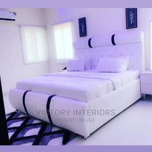 4 by 6 White Bed Frame, Upholstery With Bedside | Furniture for sale in Lagos State, Ikeja