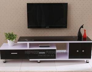 Tv Stand With Black Doors and Glass Top | Furniture for sale in Lagos State, Ogba