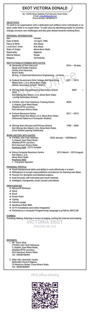 Childcare Babysitting CV | Childcare & Babysitting CVs for sale in Rivers State, Port-Harcourt