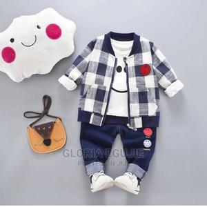Baby Boy 3pcs Smiling Face Tee Plaid Coat and Pants   Children's Clothing for sale in Abuja (FCT) State, Dutse-Alhaji