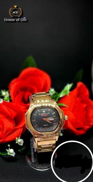 Maserati Quartz Gold Colour Male Wrist Watch | Watches for sale in Imo State, Owerri