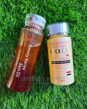 Beauty Series Body Oil and Pure Egyptian Gold Serum | Skin Care for sale in Lagos State, Amuwo-Odofin