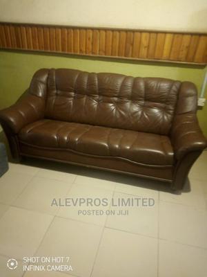 3 Seater Brown Leather Sofa | Furniture for sale in Lagos State, Amuwo-Odofin