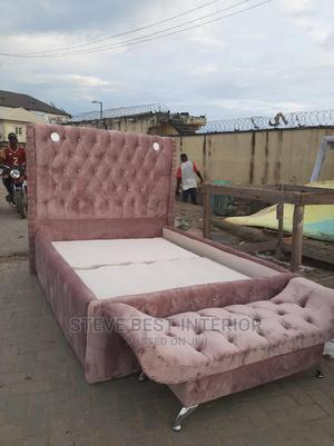 4.5 By6 Upholstery Light Bed Frame With Footstool | Furniture for sale in Lagos State, Ojo