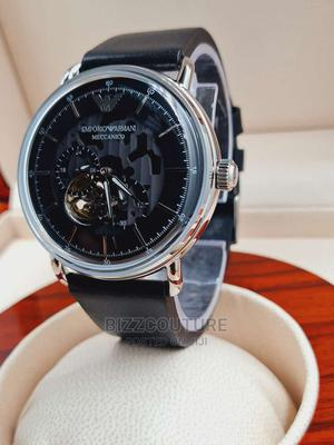 High Quality EMPORIO ARMANI Black Leather Band Watch for Men   Watches for sale in Abuja (FCT) State, Asokoro