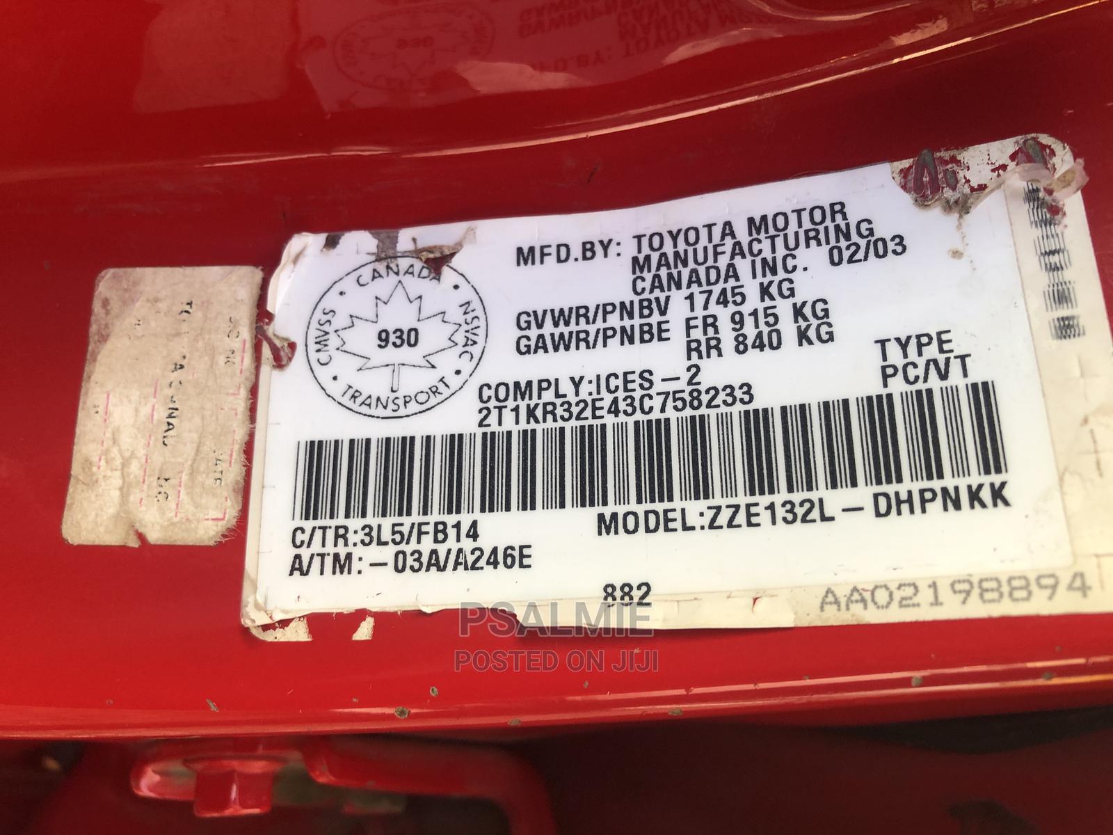 Archive: Toyota Matrix 2004 Red