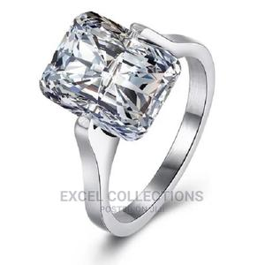 Square Zirconia Titanium Steel Engagement Ring Silver | Wedding Wear & Accessories for sale in Lagos State, Surulere