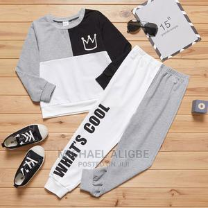 2-Piece Kid Boy Letter Print Colorblock Pullover Pants | Children's Clothing for sale in Lagos State, Alimosho