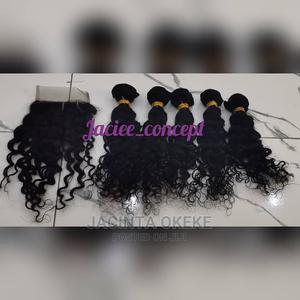16 Inches 250g Deep Wave Human Hair With Closure   Hair Beauty for sale in Abuja (FCT) State, Gwarinpa