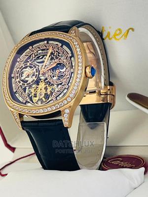 Cartier Leather Strap Men Wristwatch   Watches for sale in Lagos State, Lagos Island (Eko)