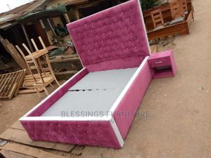6 by 6 Pink Bed Frame With 2 Bed Side ,Upholstery   Furniture for sale in Lagos State, Ikeja