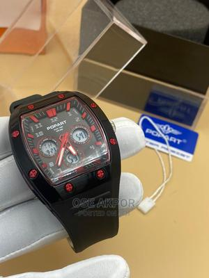 Popart Rectangular Dual Time Rubber Watch | Watches for sale in Lagos State, Ikorodu