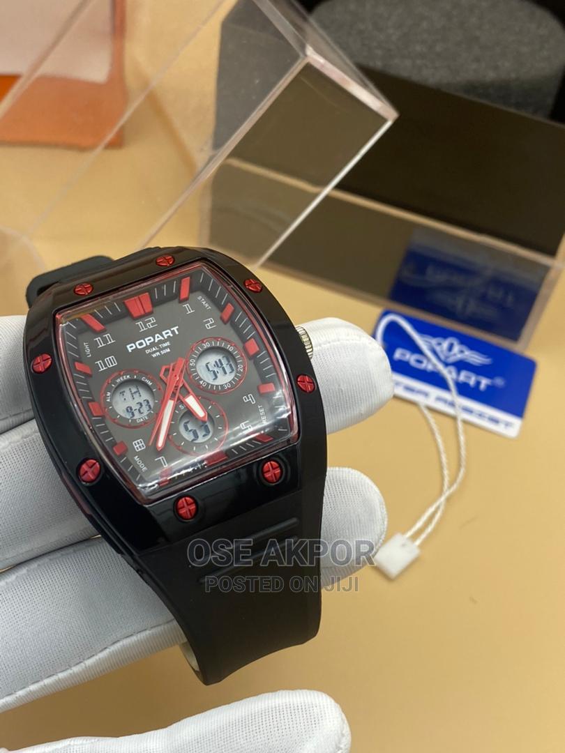 Popart Rectangular Dual Time Rubber Watch