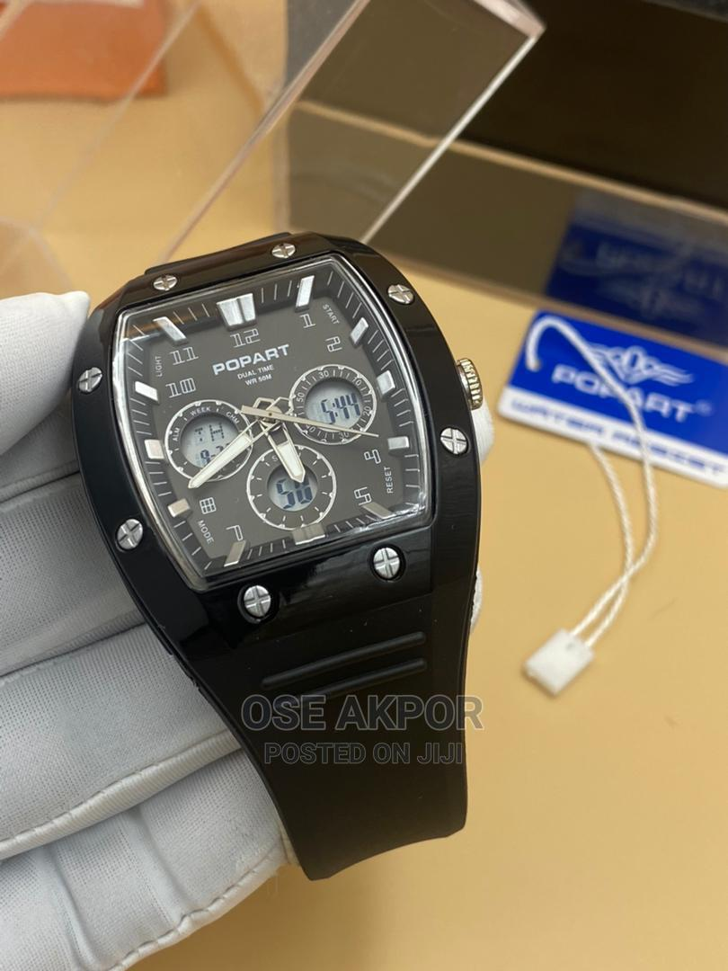 Popart Rectangular Dual Time Rubber Watch | Watches for sale in Ikorodu, Lagos State, Nigeria