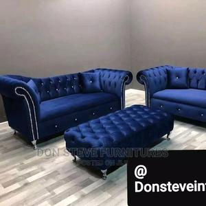 Design Padded Velvet Sofa Chair With Center Table | Furniture for sale in Lagos State, Ojo