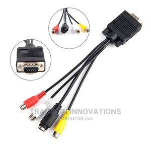 VGA to 3RAC + S Video (AV Cable) VGA to S Video Adapter | Accessories & Supplies for Electronics for sale in Lagos State, Yaba