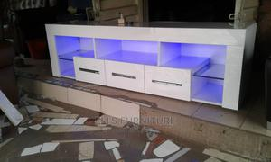 White Tv Stand With Blue Light | Furniture for sale in Edo State, Benin City