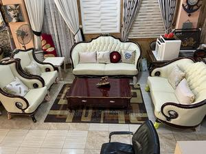Pure Milk Fabric Sofas ,Brown Pillow ,Brown Center Table   Furniture for sale in Lagos State, Ojo