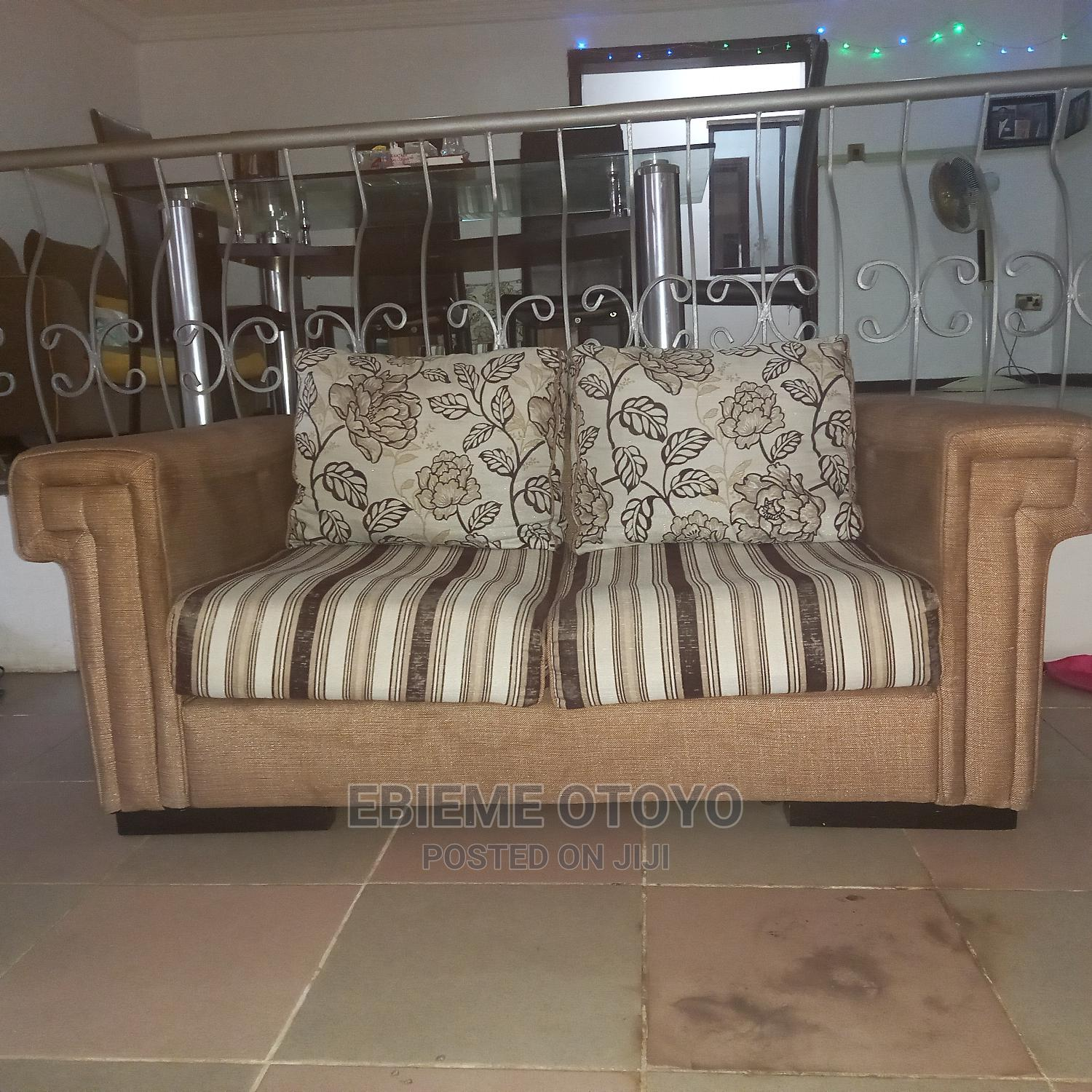 Gold and Stripe 2 Seater Sofa