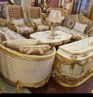 Italian Sofas White and Gold Designs With Center Table   Furniture for sale in Lagos State, Ojo