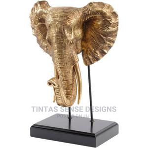 Large Gold Elephant Head Mount – Elephant Raised Trunk Head | Arts & Crafts for sale in Lagos State, Lekki
