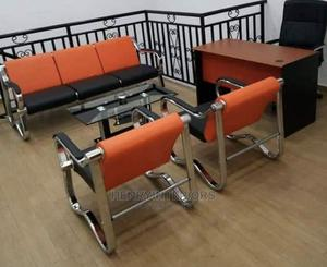 Quality 5 Seaters Orange and Black Mini Sofa   Furniture for sale in Lagos State, Ajah