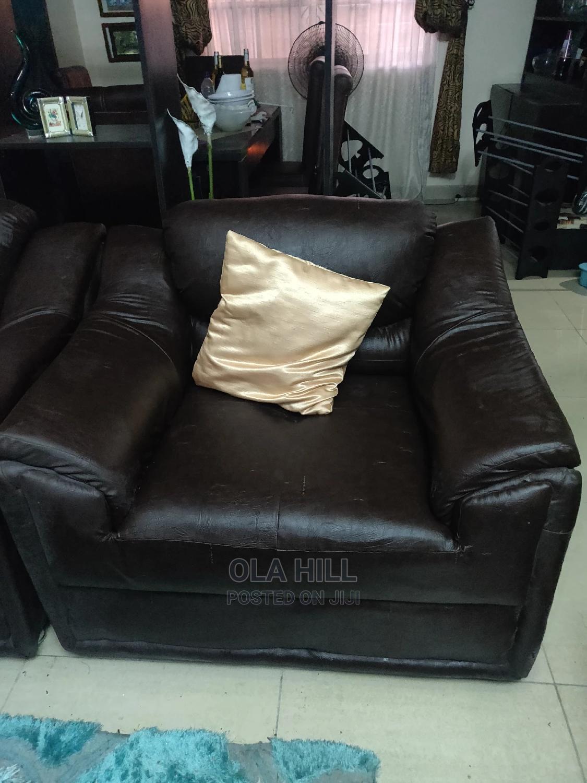 Genuine 4 Piece Brown Leather Sofa Set   Furniture for sale in Lekki, Lagos State, Nigeria