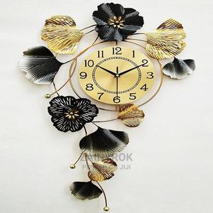 Vertical Gold Black Flowery Wall Clock - 51cm X 80cm | Home Accessories for sale in Lagos State, Alimosho