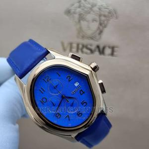 Versace Chronograph Silver Blue Leather Strap Watch | Watches for sale in Lagos State, Lagos Island (Eko)