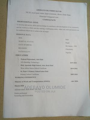 Sales Telemarketing CV   Sales & Telemarketing CVs for sale in Ekiti State, Ikole