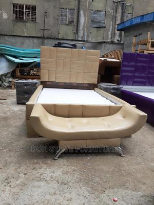 4/6 Leather Upholstery Bed Frame With Automan   Furniture for sale in Lagos State, Ojo