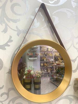 Brown Leather Gold Frame Mirror | Home Accessories for sale in Lagos State, Oshodi