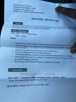 Fashion Designer | Sales & Telemarketing CVs for sale in Lagos State, Lekki